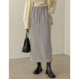 [低身長サイズ有]USAコットン裏起毛タイトスカート (杢グレー)
