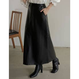 [低身長/高身長サイズ有]エコレザーロングスカート (ブラック)
