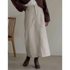 [低身長/高身長サイズ有]エコレザーロングスカート (アイボリー)