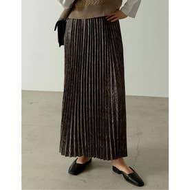 [低身長サイズ有]ダマスク柄プリーツマキシスカート (ブラック)