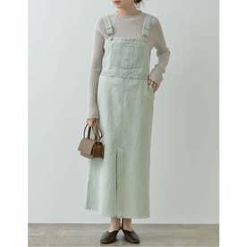 カラーブリーチデニムジャンパースカート (グリーン)