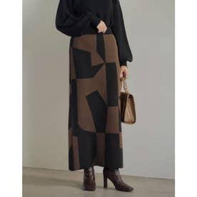 [低身長サイズ有]ジオメトリックニットタイトスカート (ブラウン)