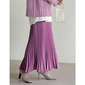 [低身長サイズ有]カラープリーツスカート (ラベンダー)