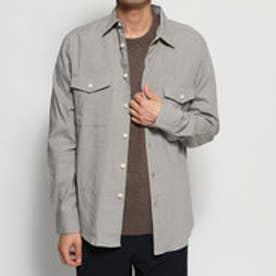 ポケット付 リネンシャツ (ライトグレー)