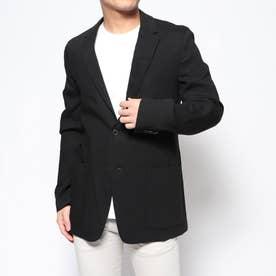 リネン混テーラードジャケット (ブラック)