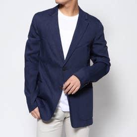 リネン混テーラードジャケット (ブルー)