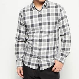 コットンチェックシャツ (ブラック×ホワイト)