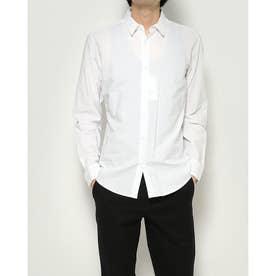 リネン混 ストライプシャツ (ホワイト×ブルー)