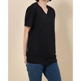 Vカットシルク混Tシャツ (ブラック)