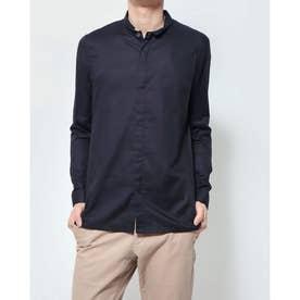 スタンドカラーロングシャツ (ネイビー)