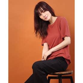 リネンコットン半袖Tシャツ (レッドブラウン)