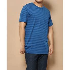 クルーネックボーダーTシャツ (ダークブルー)