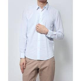 コットンリネンストライプシャツ (ブルー×ホワイト)