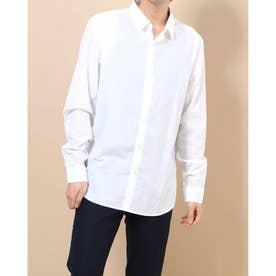ストライプ生地シンプルシャツ (ホワイト)
