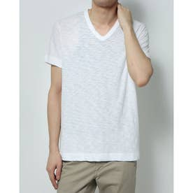 VネックシンプルTシャツ (ホワイト)