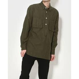 ポケットデザインフランネルシャツ (カーキ)