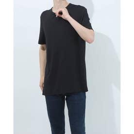 ラウンドネックシンプルTシャツ (ブラック)