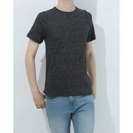 ラウンドネックリネンTシャツ (ブラック)