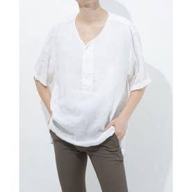 リネンフロントボタンシャツ (アイボリー)
