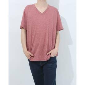 VネックコットンTシャツ (ピンク)