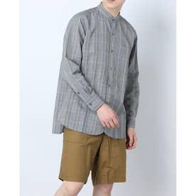 リネンブレンドスタンドカラーインディゴシャツ (グレー)