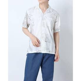 アート柄オープンカラー半袖シャツ (ブラック)
