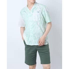 アート柄オープンカラー半袖シャツ (グリーン)
