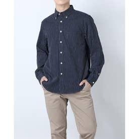 ストライプボタンダウンコットンシャツ (ネイビー)