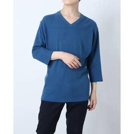 インディゴコットンストレッチVネックTシャツ (ブルー)
