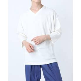 コットンストレッチVネックTシャツ (ホワイト)