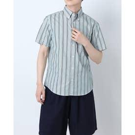 ボタンダウンハーフスリーブコットンシャツ (グリーン)