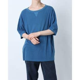 インディゴコットンストレッチTシャツ (ブルー)