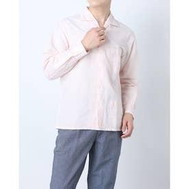 マルチポケットハマカラー長袖シャツ (ピンク)