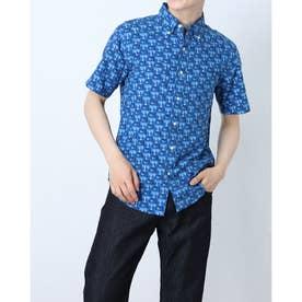 総柄レーヨン半袖シャツ (ブルー)