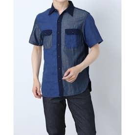 デザインミックス半袖シャツ (インディゴ)