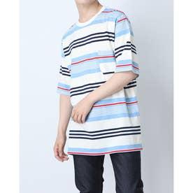 マルチボーダーコットンポケットTシャツ (ホワイト)