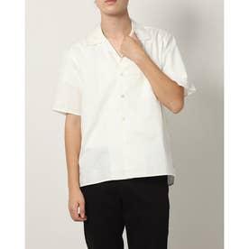 オープンカラーコットン半袖シャツ (オフ)