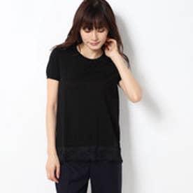 裾レース半袖ニットPO (ブラック)
