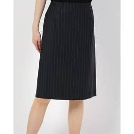 ストライプ柄ウールタイトスカート (ネイビー)