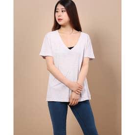 深めVカットTシャツ (ライトグレー)
