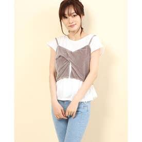 ベロアキャミソール付きTシャツ (ホワイト×グレージュ)
