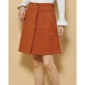 ポケット付き 後ろゴムスカート (オレンジ)