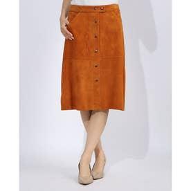 やぎ革ひざ丈スカート (キャメル)