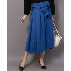 リボン付きフレアロングスカート (ブルー)