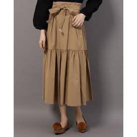 サッシュベルト付ティアードスカート (キャメル)