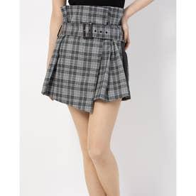 ベルト付きラップスカート (グレーチェック)