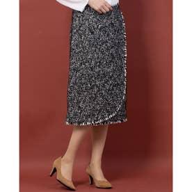 ツイードラップスカート (ブラック×ホワイト)