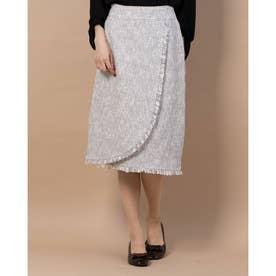ツイードラップスカート (ライトグレー)