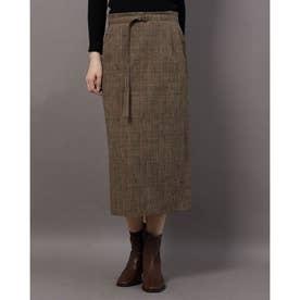 グレンチェックタイトスカート (カーキ×ブラック)