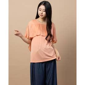 フリル袖異素材コンビTシャツ (サーモンピンク)